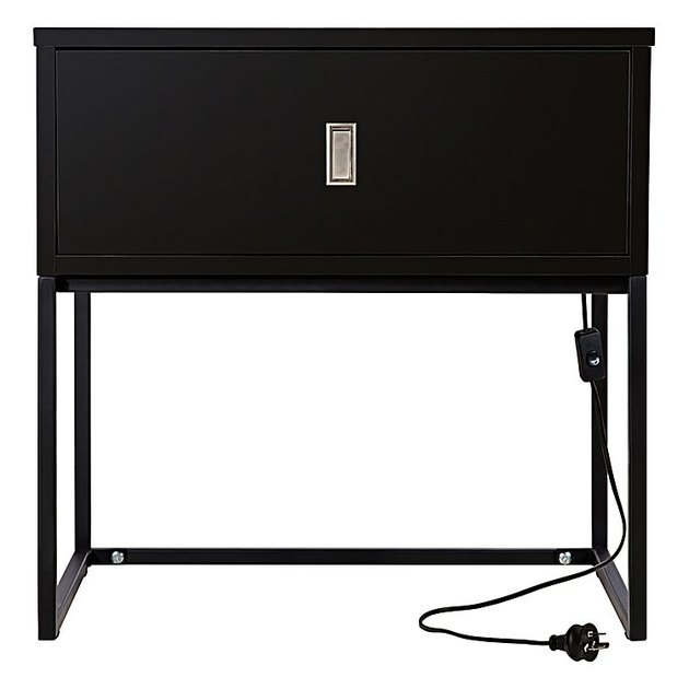 Black bedside table with silver drawer pull