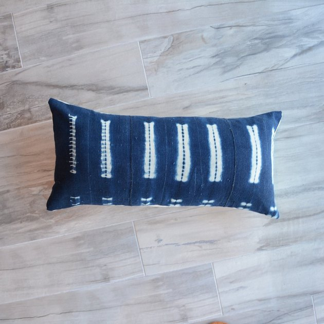 Blue and white striped tie-dye lumbar pillow