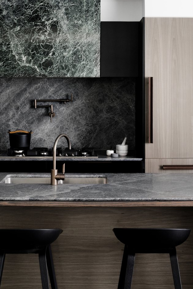 dark marble kitchen