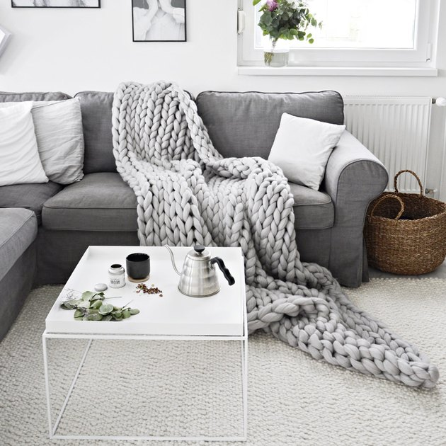 chunky knit blanket in living room