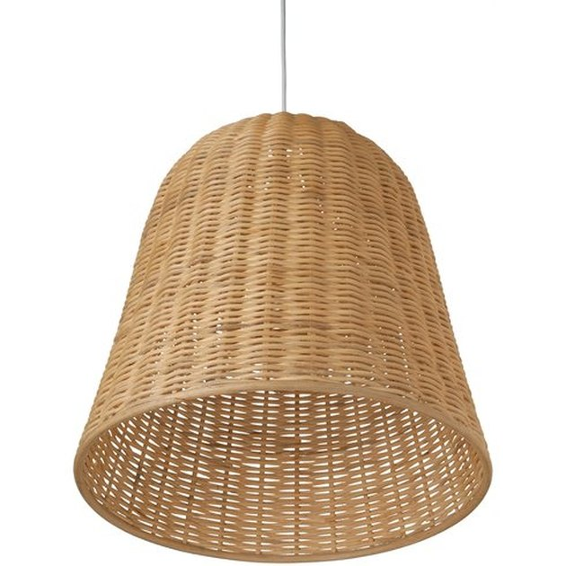 Wicker bell pendant light