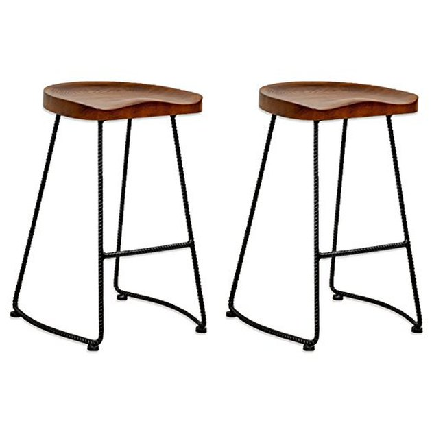 Set of two barstools with wire base and wood backless saddle seat