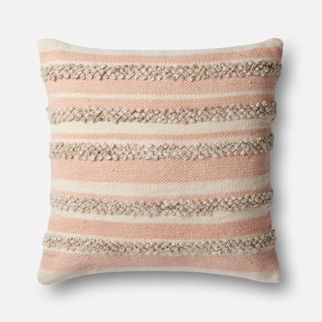 Pink and ivory striped oversized pillow