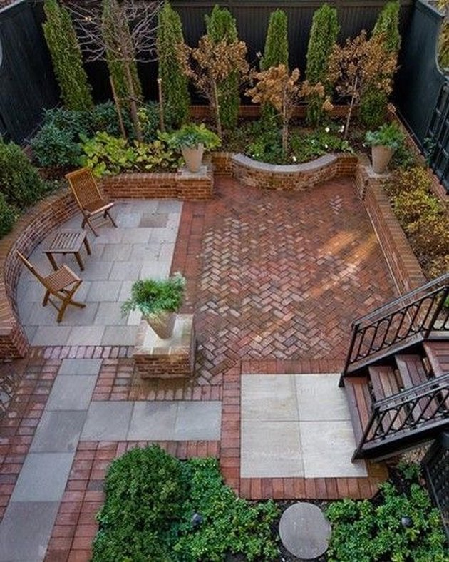 hardscape materials herringbone brick patio with stone tiling