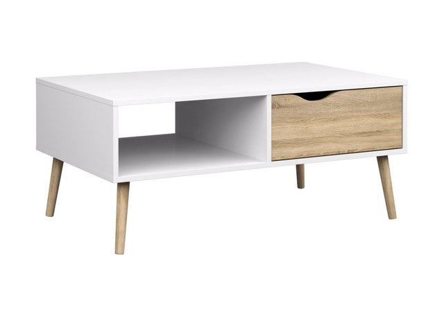 white midcentury coffee table with drawer