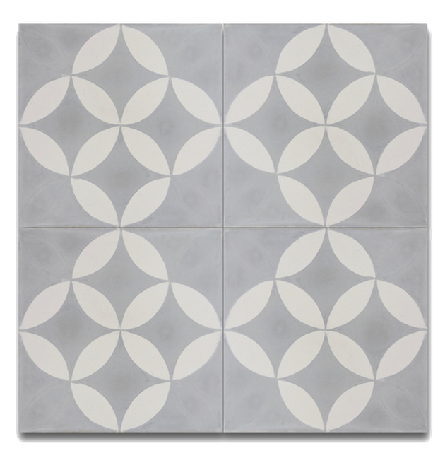 White and gray patterned moroccan mosaic tile