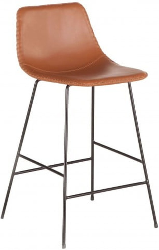 Faux-leather tan barstool with back and black wire base