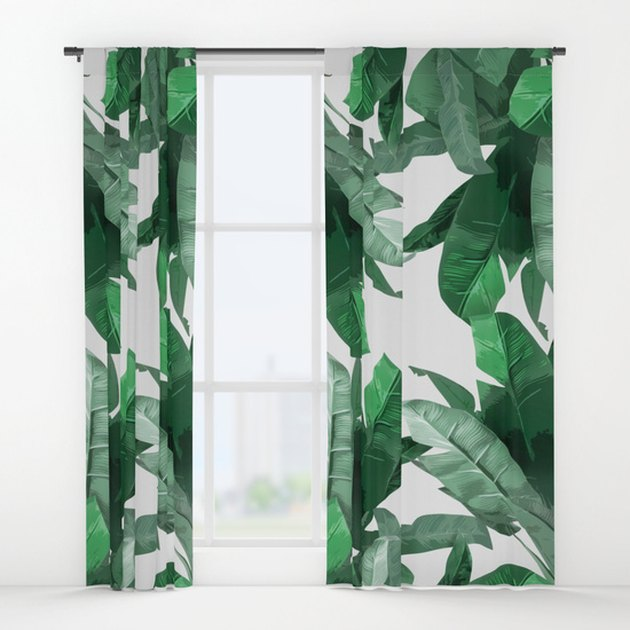 Society6 printed leaf curtains.
