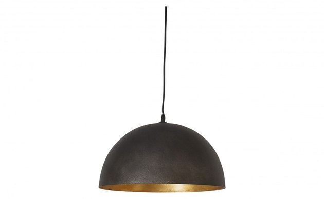 Black bell-shaped pendant light with gold interior