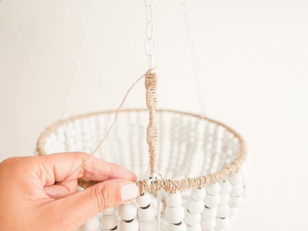 diy beaded wood chandelier