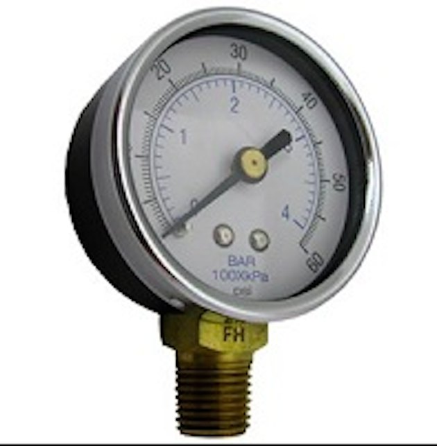 A swimming pool pressure gauge.