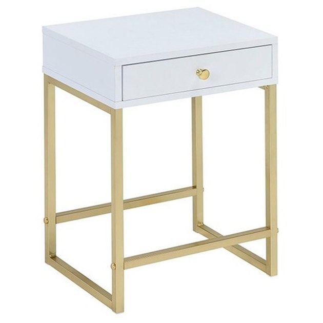 Minimal white lacquer end table with brass base and hardware