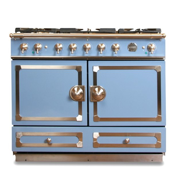 Retro blue stove with chrome details