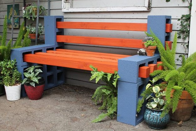 Outdoor bench made of wood and cinder blocks