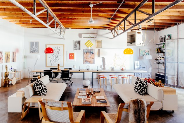 Contemporary art pulls the large, airy room together