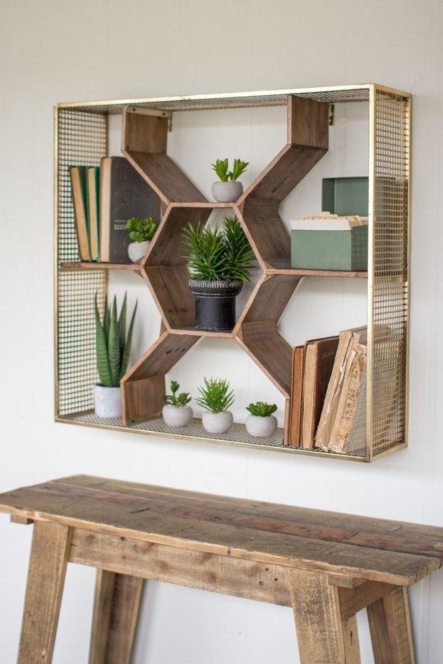 honeycomb wall shelf with mesh brash frame