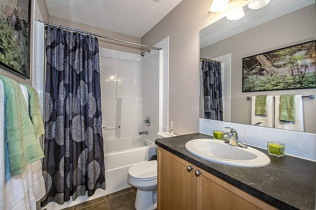 Shower curtain offsets otherwise bright bathroom.