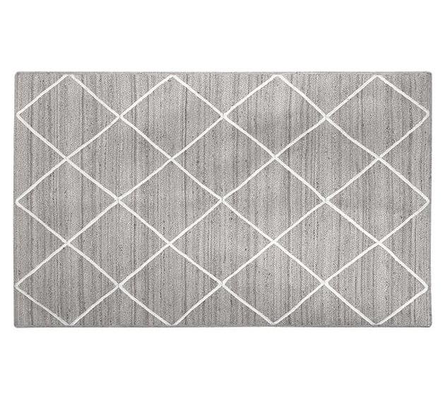 Gray diamond area rug