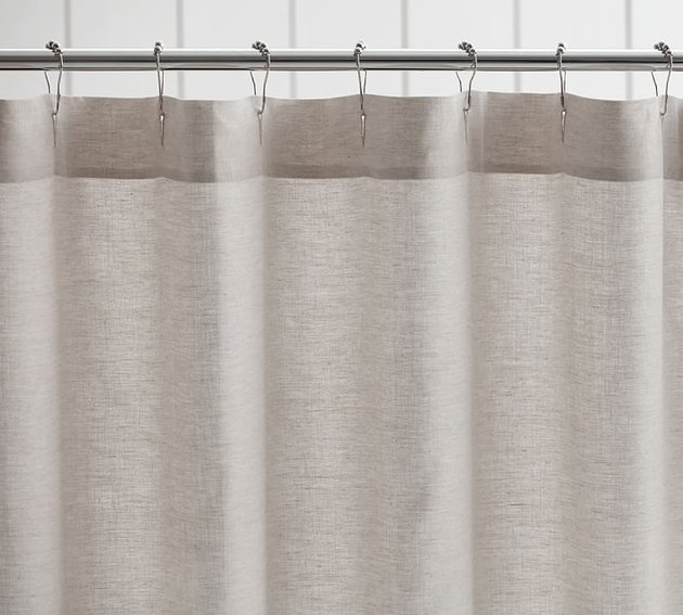 Wheat-gray linen shower curtain