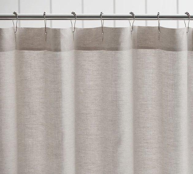 Wheat-gray linen shower curtain