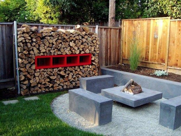 rustic midcentury backyard