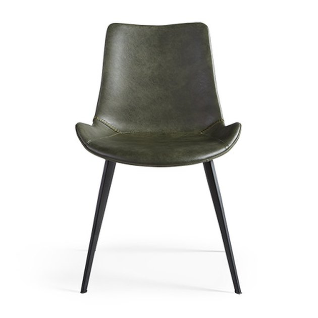 Mid-century leather dining chair in dark green