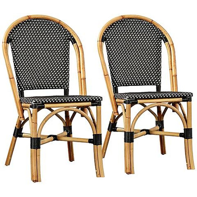 Black and rattan woven bistro chairs