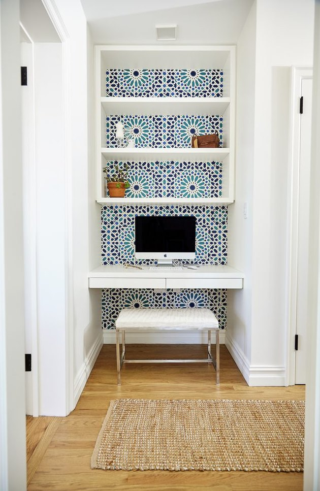 shelves and wallpaper