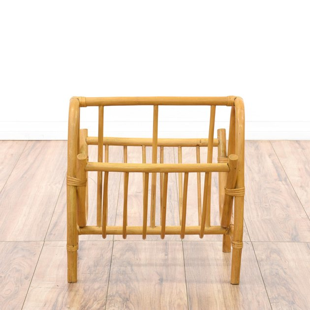 Loveseat rattan magazine rack.
