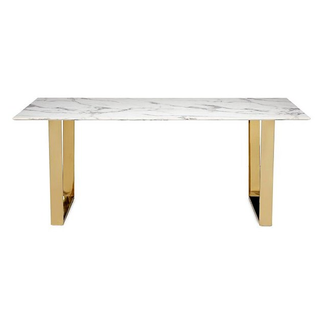 Minimal marble-topped dining table with gold legs