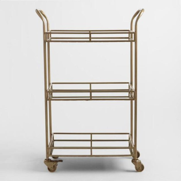 gold three tier rolling bar cart