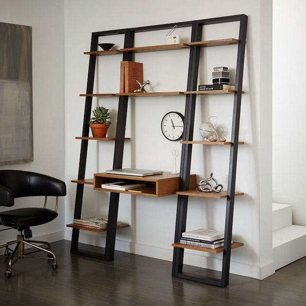 west elm modern small space decorating ideas ladder shelf desk