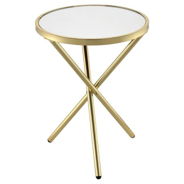 Minimal brass side table with criss-crossed legs