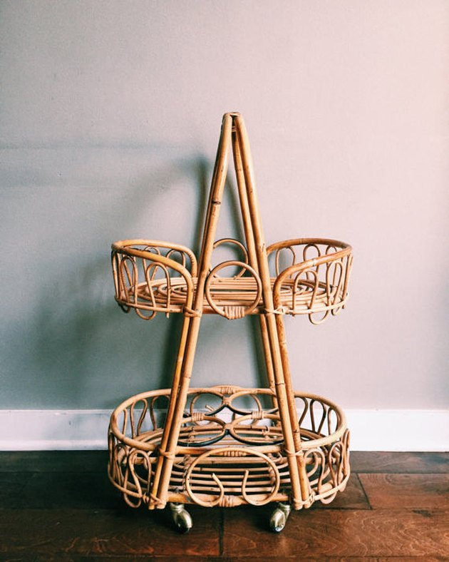 TresorCru rattan bar cart.