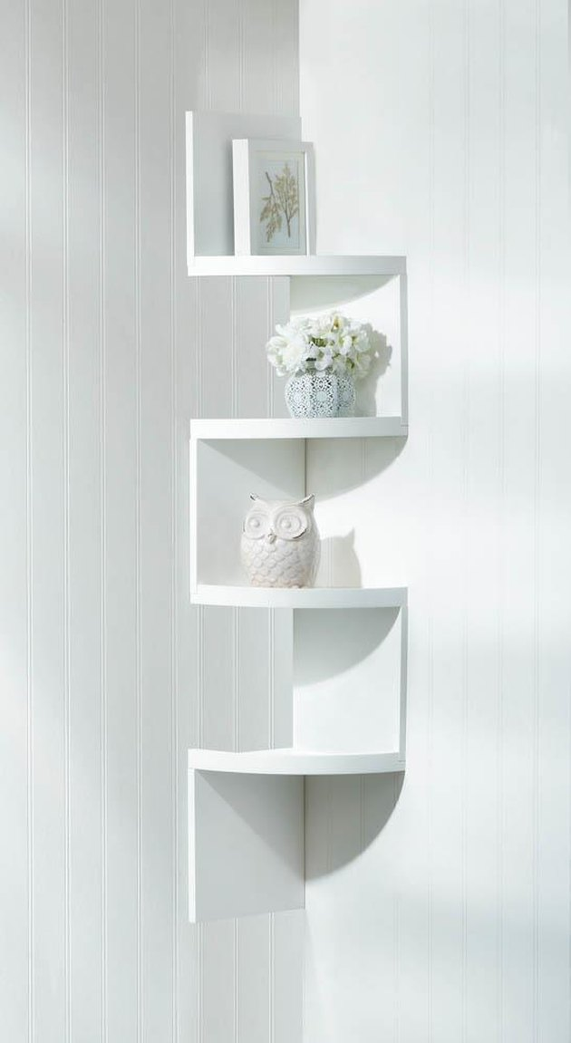 white alternating corner shelves