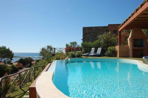 A pristine pool in a seaside setting.