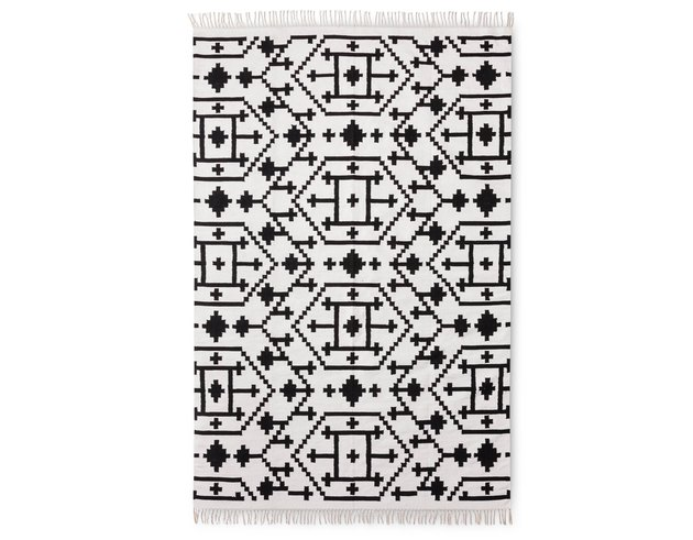 Black and white kilim rug