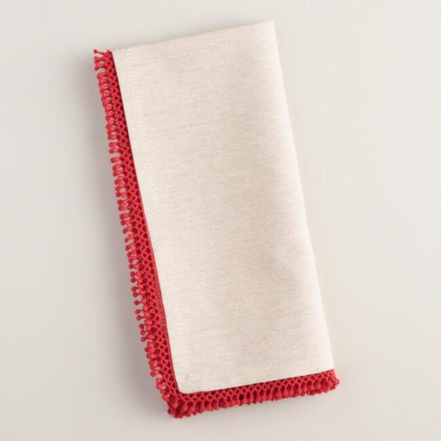 red trim napkins