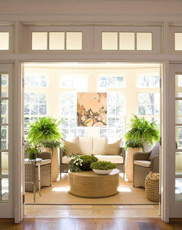 neutral toned sun room