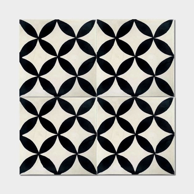Black and white geomteric tile