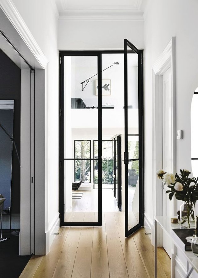 Glass doors with black frame