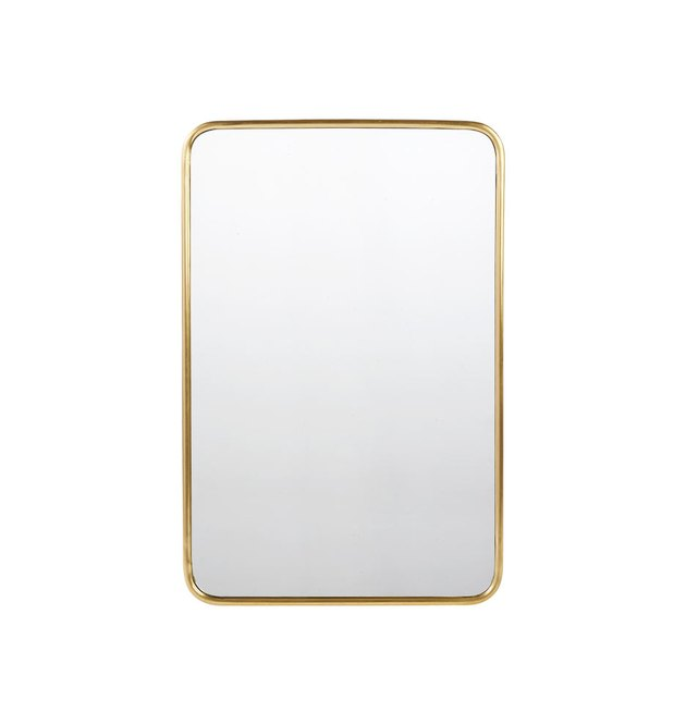Rounded rectangular mirror with aged brass frame