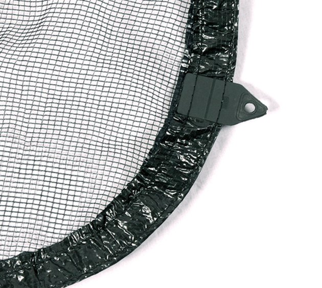 Close-up of mesh pool cover.