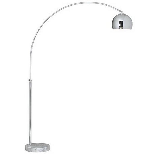 Chrome arching floor lamp