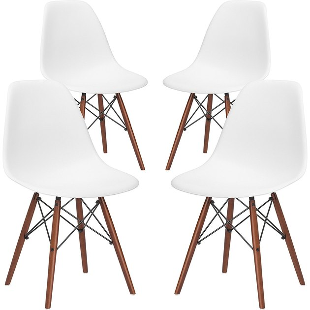 Set of four white and wood armless mid-century dining chairs