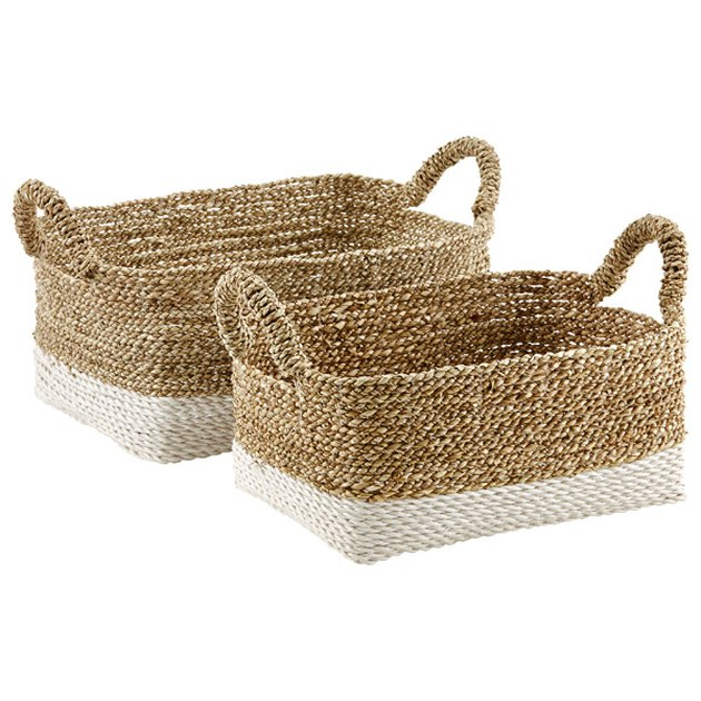 Small woven storage bins with handles and white base