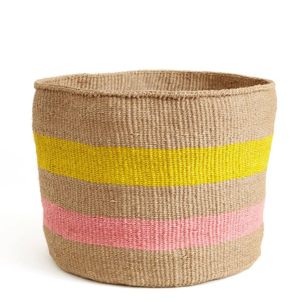 Yellow and Pink Striped Basket