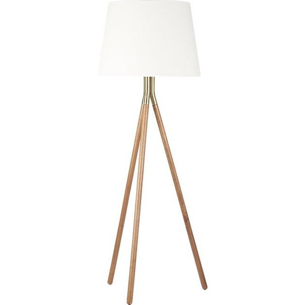 Midcentury floor lamp with three wooden legs and white shade