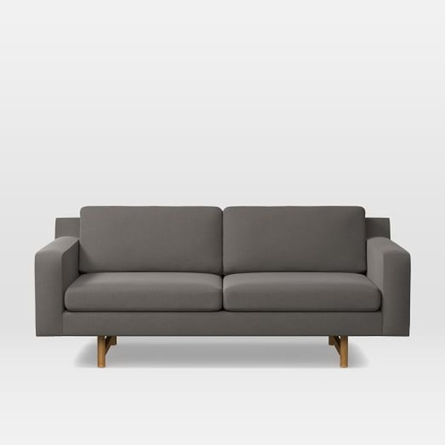 Gray mid-century two-cushion sofa