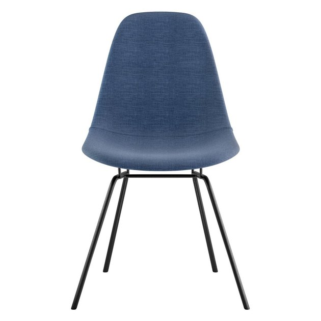 Navy armless midcentury dining chair